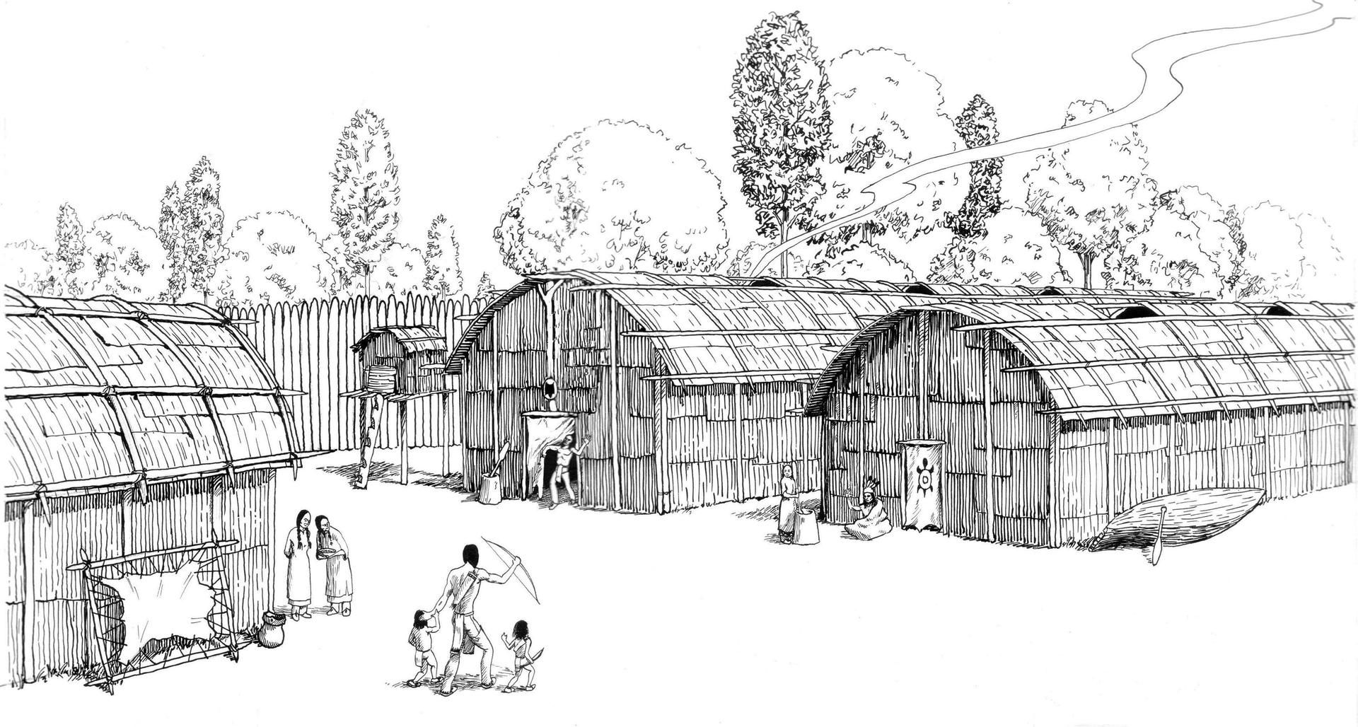 Representation of an Iroquois village of longhouses by