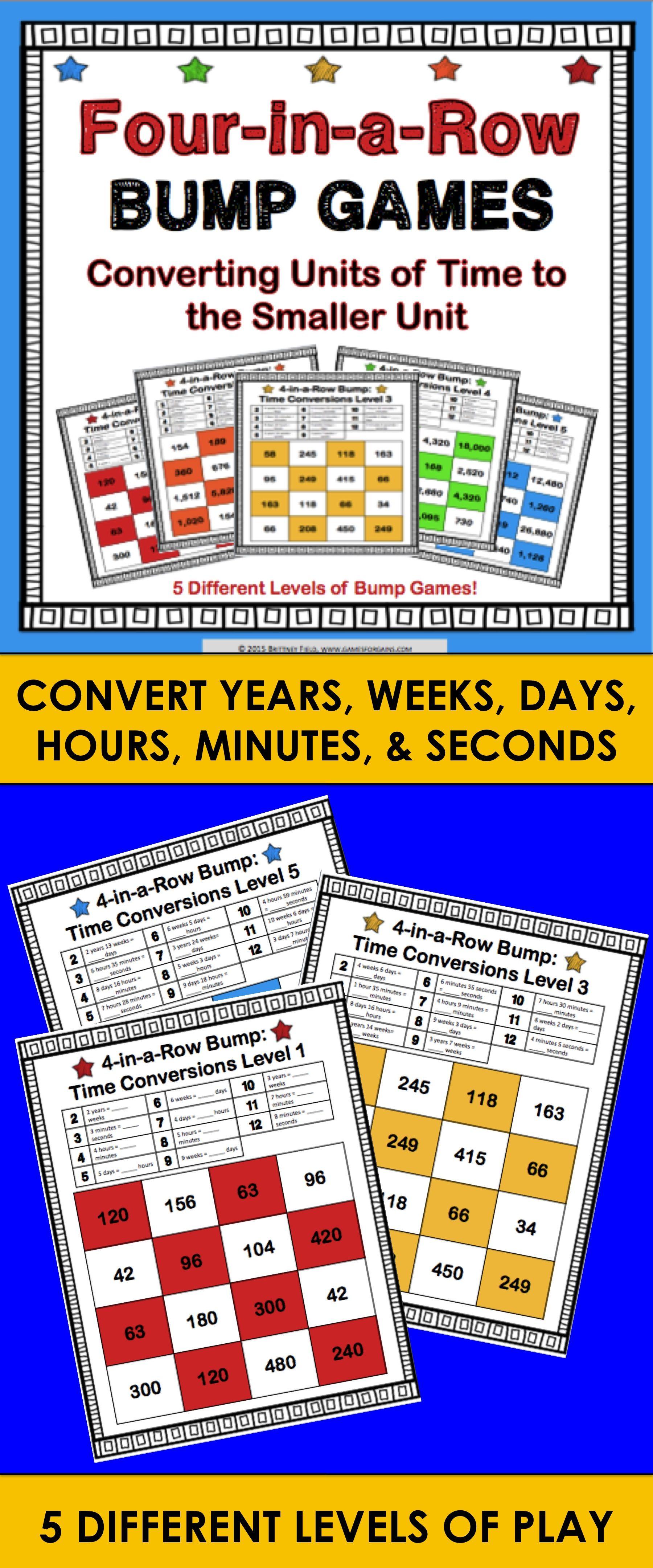 Time Conversions Measurement Conversion Games 4 A 1