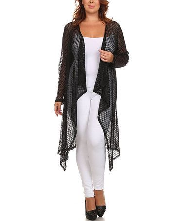 Look at this #zulilyfind! Black Lace Open Cardigan - Plus ...