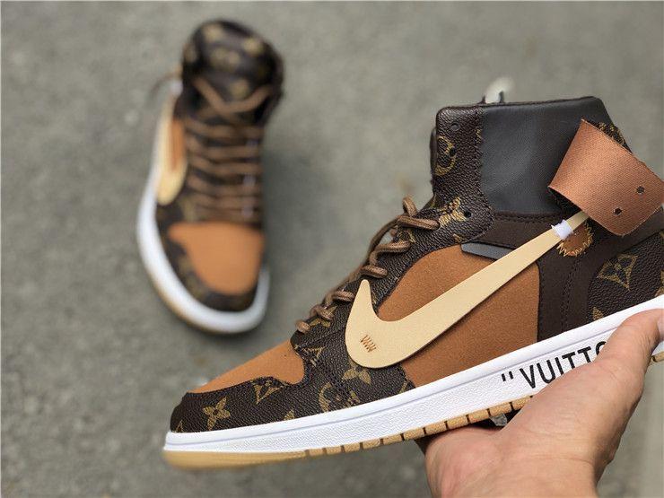 1c4c28aba38 Off-Louis Nike Air Jordan 1 Custom, Louis Vuitton x Off-White x Air ...
