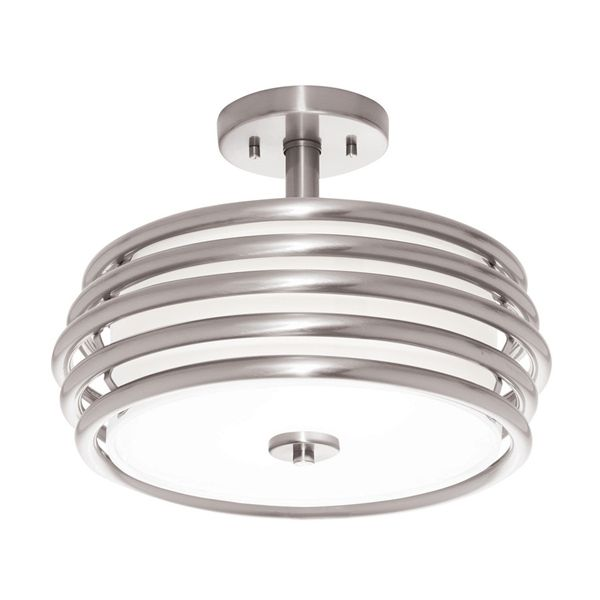 Shop kichler lighting bands brushed nickel fabric semi flush mount light at lowe canada find our selection of semi flush ceiling lights at the lowest