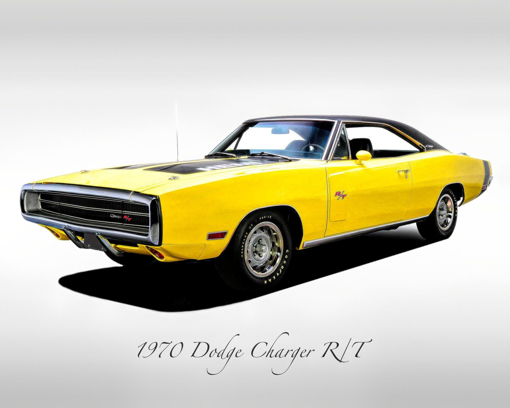 Classic Cars – 1970 Dodge Charger R/T Yellow – Muscle Car – Print