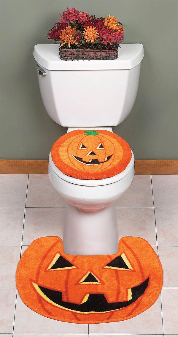 Terrific Jack O Lantern Toilet Lid Cover Rug Decor Halloween Lamtechconsult Wood Chair Design Ideas Lamtechconsultcom