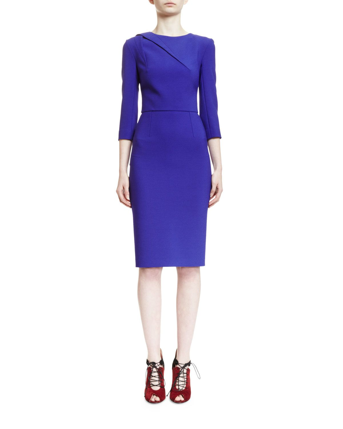Hisley 3 4 Sleeve Sheath Dress Royal Purple Women S Size