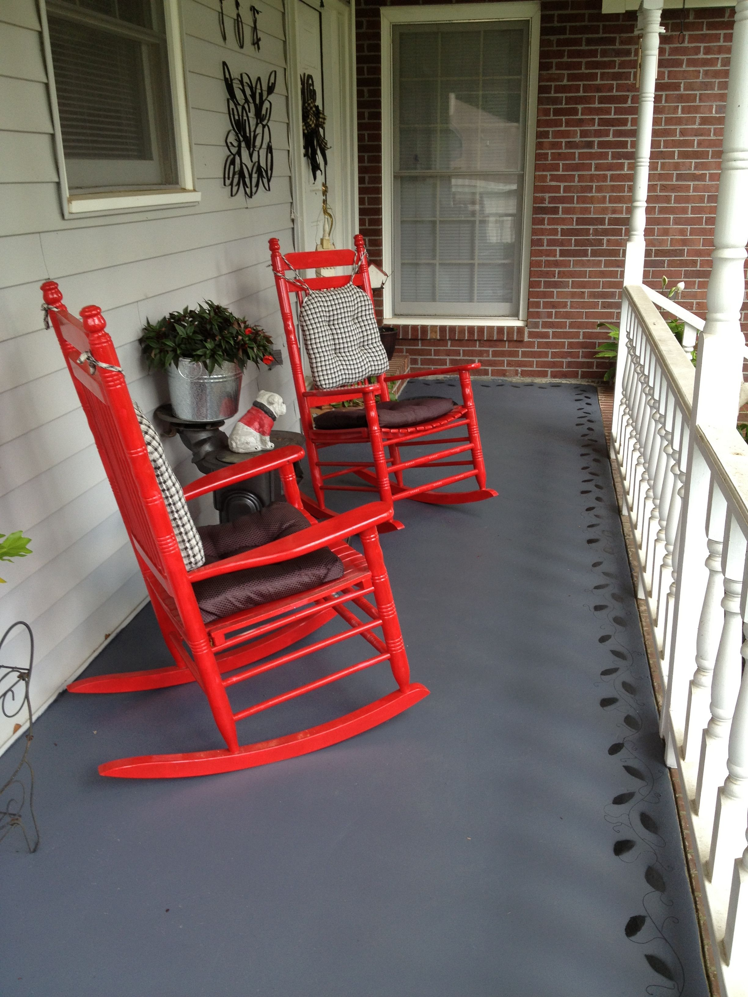 Painted porch with black vine details (With images