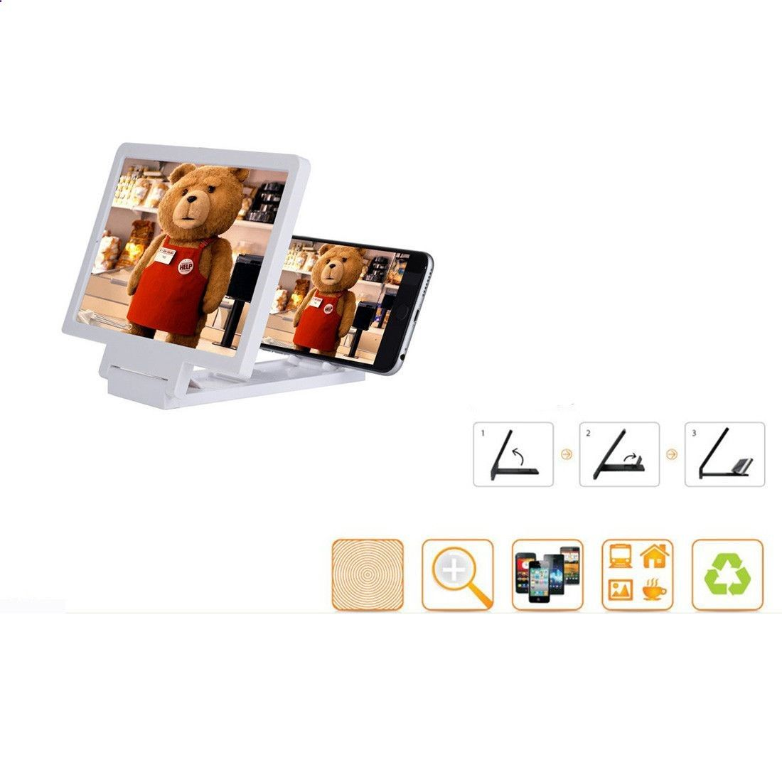 Hot Selling 3D Mobile Phone Screen Magnifier Enlarged Screen Smartphone Amplifier Magnifier Bracket Cell phone Holder