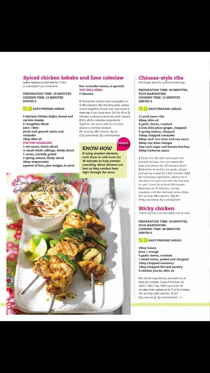 Spiced Chicken Kebab and Lime Coleslaw