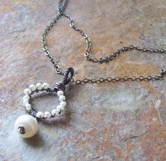 Coiled tiny freshwater PEARL pendant necklace by angryhairjewelry, $43.00
