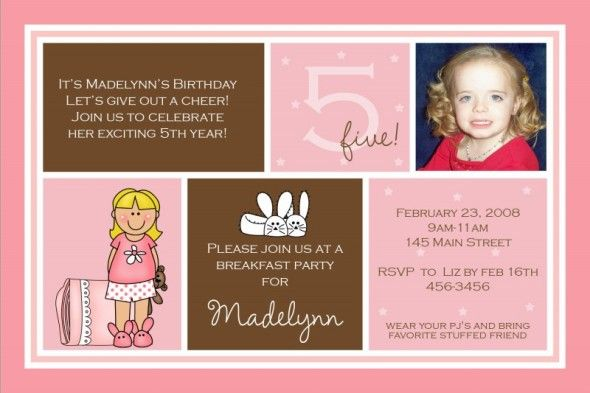 Image Detail For 5th Birthday Invitation Madelynn Slumber Party Photo Card