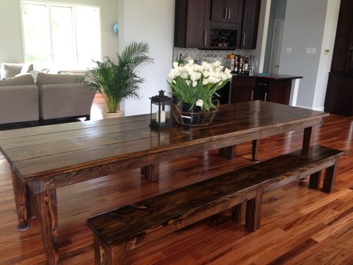 Captivating James +James Farmhouse Table With Tapered Legs In Vintage Dark Walnut Stain.