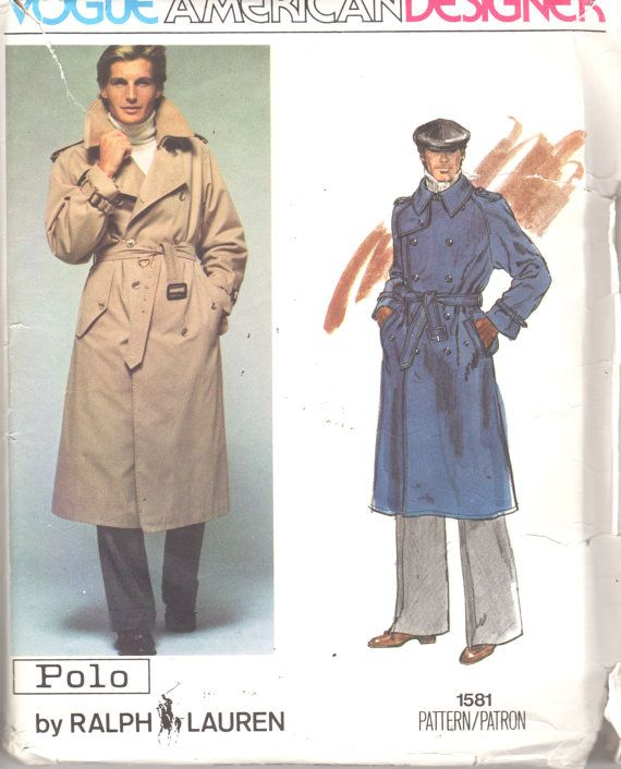 Vogue 40 40s MENS Double Breasted Trench COAT Pattern POLO By Gorgeous Mens Trench Coat Pattern