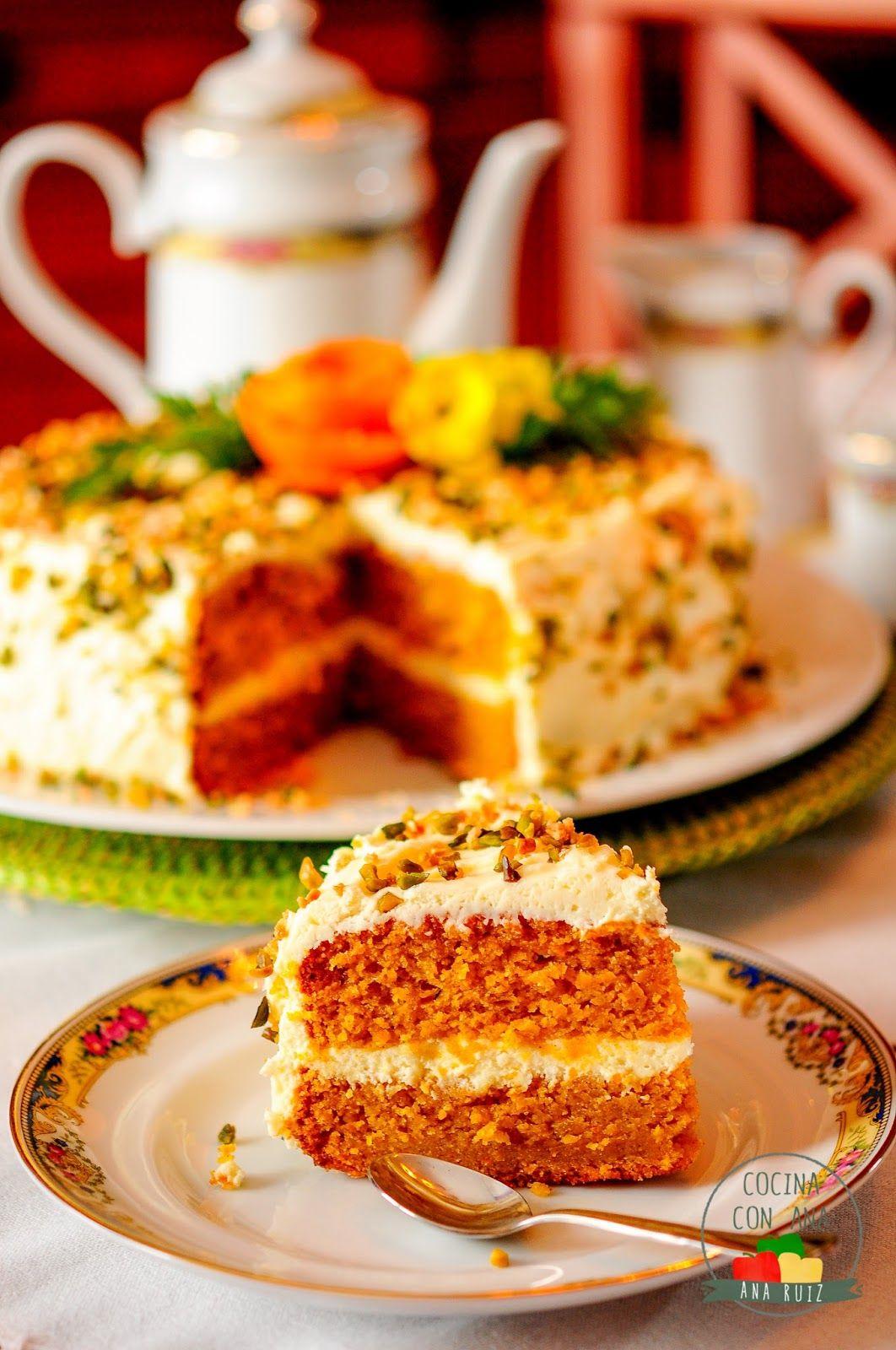 Tarta de zanahoria con crema de queso con thermomix y a - Ana cocina facil ...