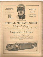 1929  RARE WHITE CITY SPECIAL SEGRAVE NIGHT 19th APRIL