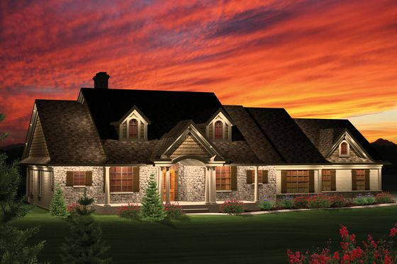 Beautiful layout with bonus room above garage. House Plan 70-1050
