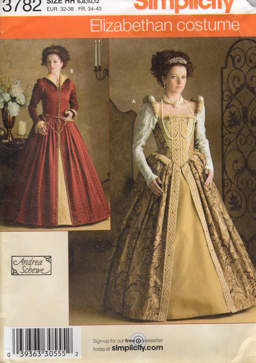 Free Us Ship Simplicity 3782 Sewing Pattern Elizabethan Tudor ...