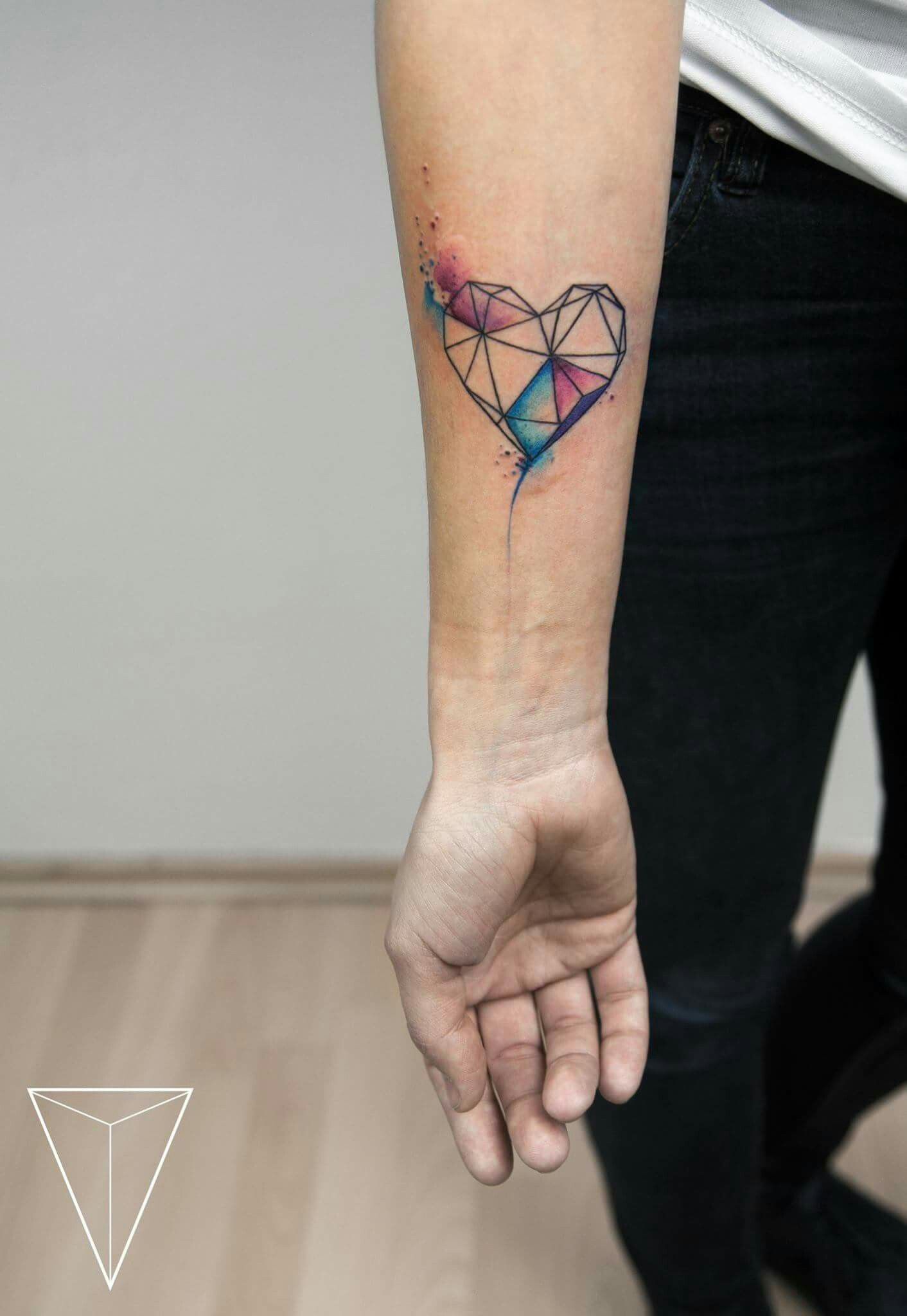 Watercolor Tattoo Arm Heart Prism Origami Misspank More