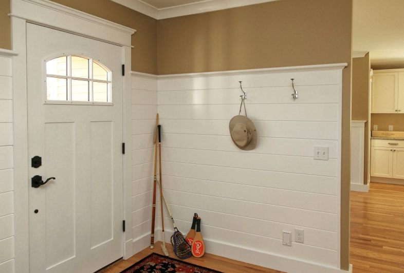 Wainscoting, front door, trim Home projects, Home decor