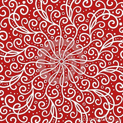 Fancy red background with white line curls swirls scrollwork or