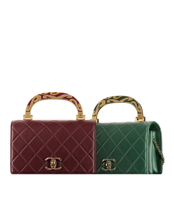 04e67d8c2fd2 Lambskin Boy CHANEL flap bag with enamel handle embellished... - CHANEL