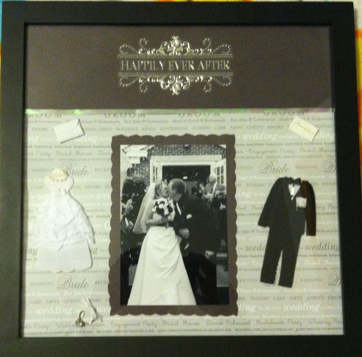 12x12 wedding scrapbook paper - Scrapbook Frame I Made From My Wedding Black White Photo Old Fashioned