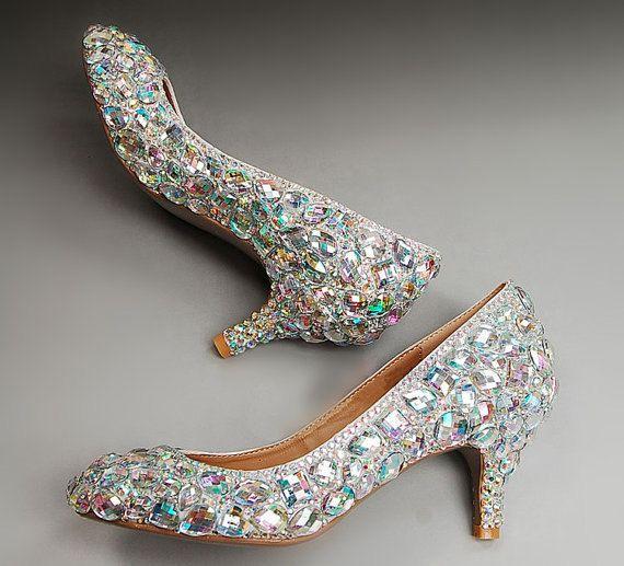 AB crystals Rhinestone kitten heels, Wedding Shoes. low heel ...