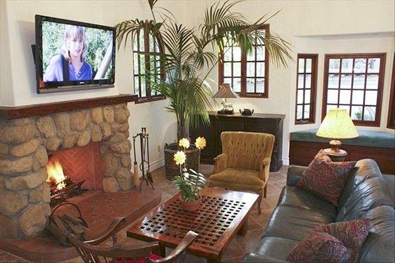 Enjoy the big screen digital TV and fireplace