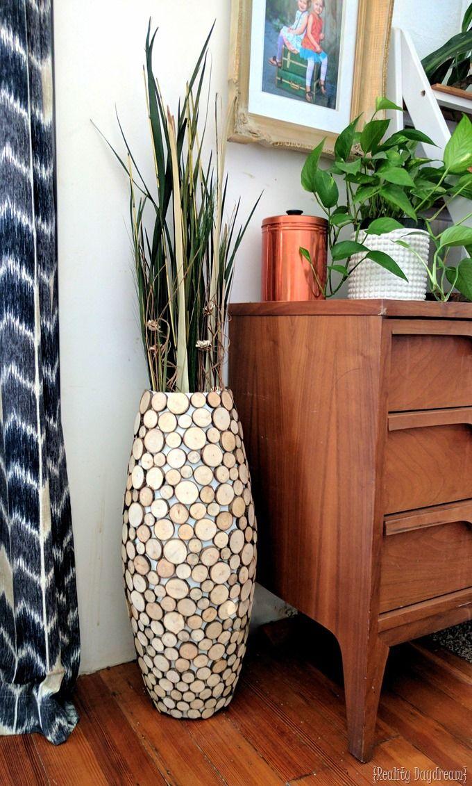 Diy Wood Slice Tall Floor Vase Tall Floor Vases Floor Vase