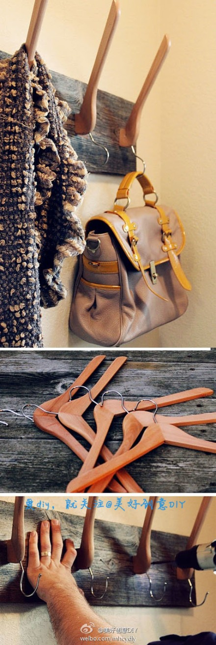 Can also be linked into the hanger diy ~ - more interesting, please follow @ OK Creative DIY (http://t.cn/zOR4l2D)