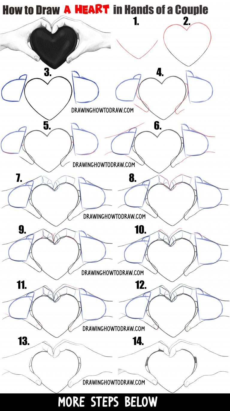 How To Draw Couple S Hands Holding A Heart For Valentine S Day