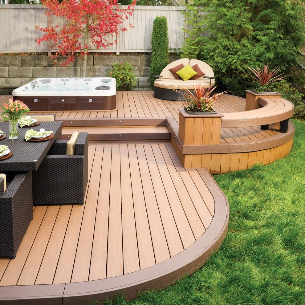 Metal fire pit on wood deck - Decks With Hot Tubs Deck Contemporary With None