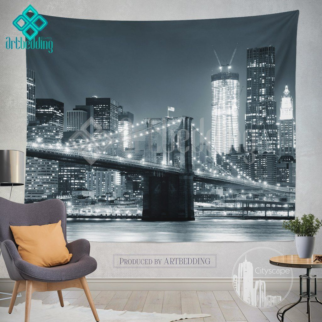 New York Monochromatic Cityscape Wall Tapestry Brooklyn Bridge At