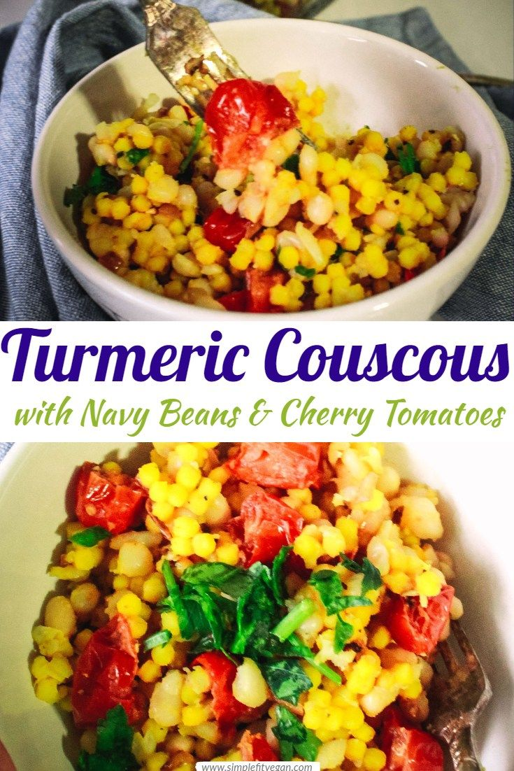 Turmeric Couscous With Navy Beans And Cherry Tomatoes