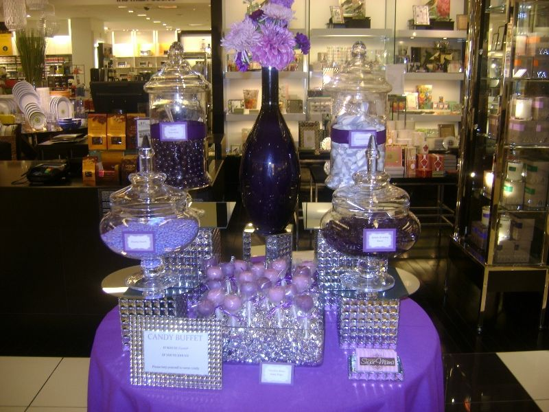 Purple Bling Candy Table @ Bloomingdales South Coast Plaza by OC Sugar Mama