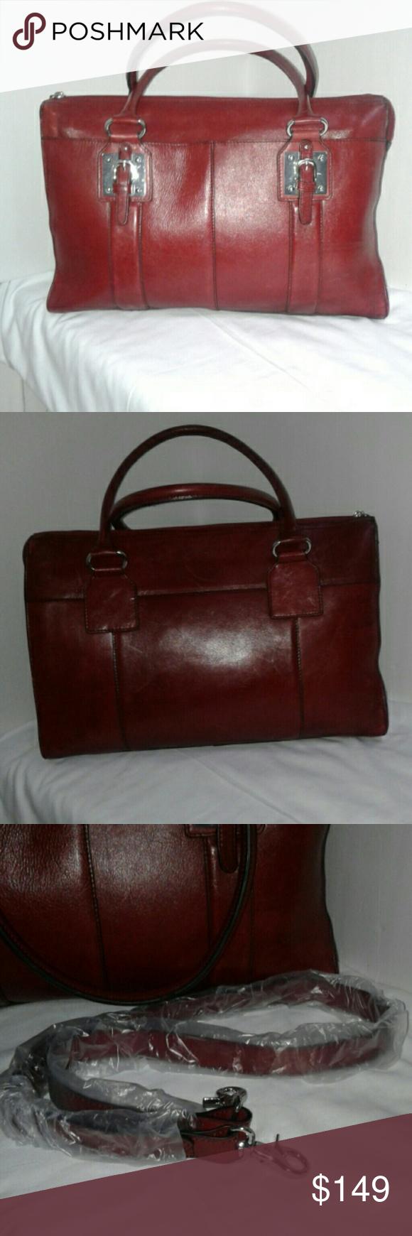 Wilson's Leather Tablet Laptop Bag Red Burgundy Wilsons