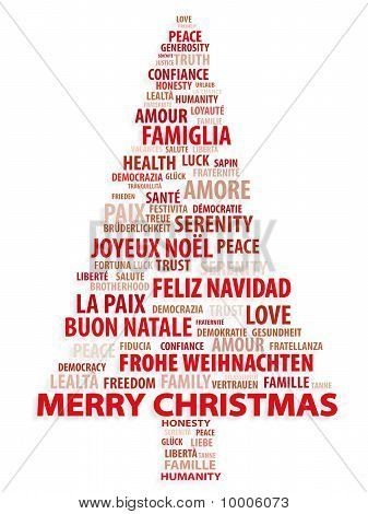 Merry Christmas In Different Languages | ... Or Photo Of Tree Of Words.  Christmas Card Word