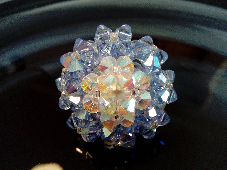 Bague copine bleue et blanche en perles de cristal Swarovski ...