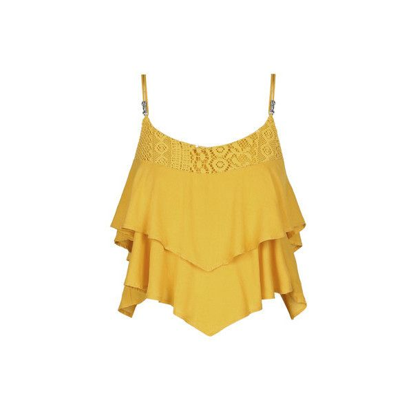 Gelbes, lockeres Top (€16) ❤ liked on Polyvore featuring tops and giallo