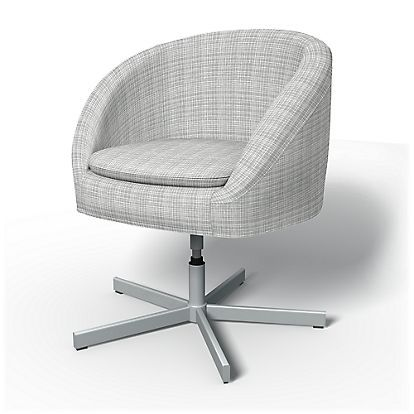Swivel Chair Covers Convert Office To Stool Ikea Skruvsta Cover Cloud Grey Woven Whimsy Panama Cotton Bemz