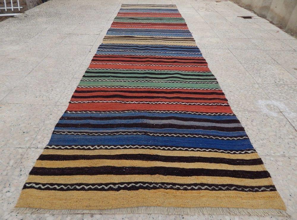 11 Foot Vintage Turkish Handmade Wool Striped Hallway