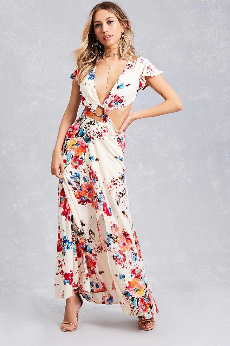 A Woven Maxi Dress Featuring An Allover Floral Watercolor Print A V Neckline A Cutout Waist De Maxi Dress Short Sleeve Floral Dress Short Sleeve Maxi Dresses [ 1125 x 750 Pixel ]