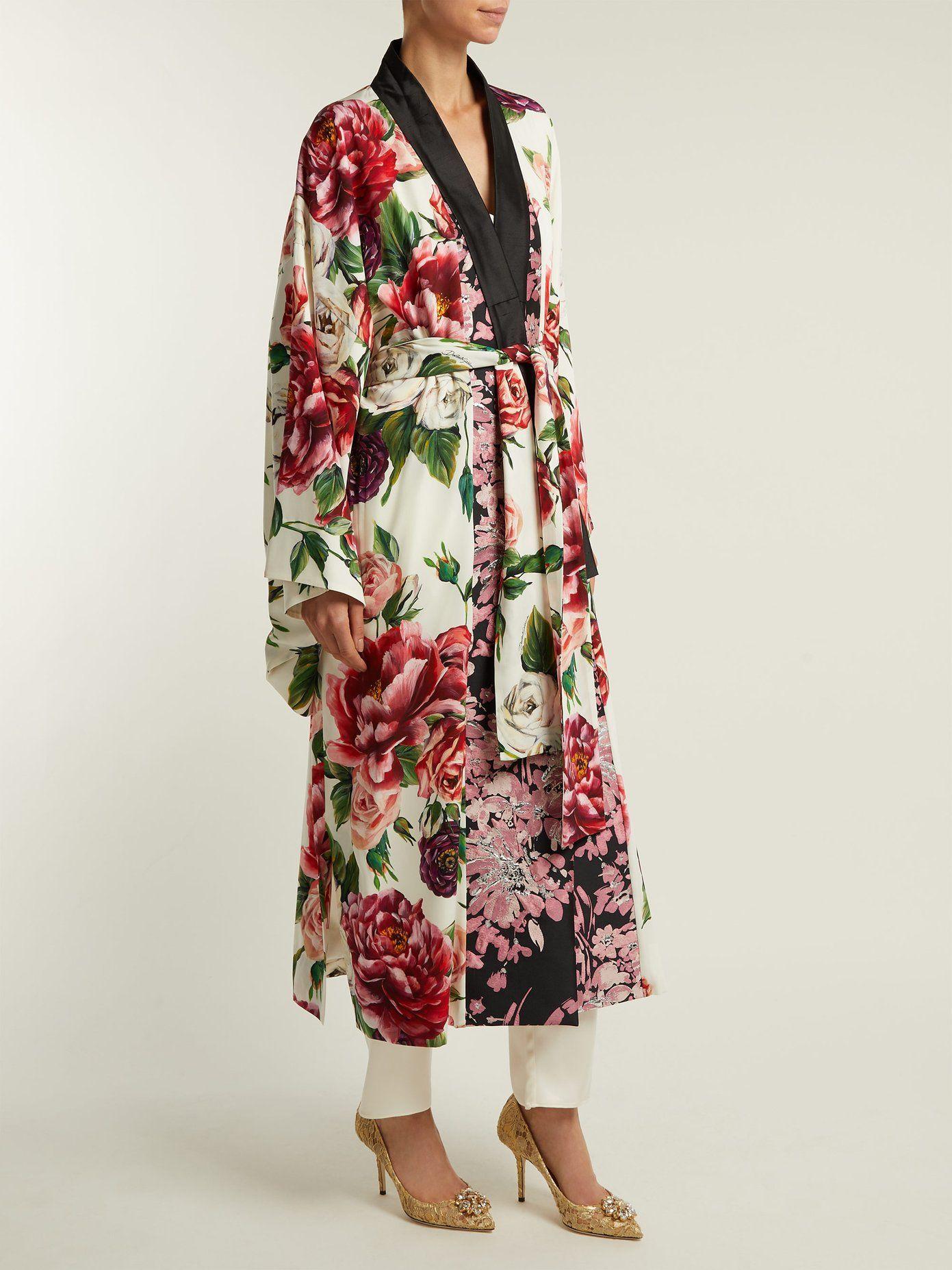 y Reino rosas con Abrigo estilo kimono com estampado Matchesfashion Unido de peoníaDolce Gabbana xqxYfOw