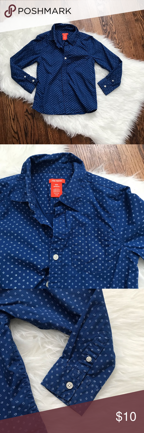 5f2f996af Kids button down blue shirt size 7/8 boys Cute brighter than navy blue  button down shirt with a 'floral' pattern Pattern is little white dots In  clusters to ...