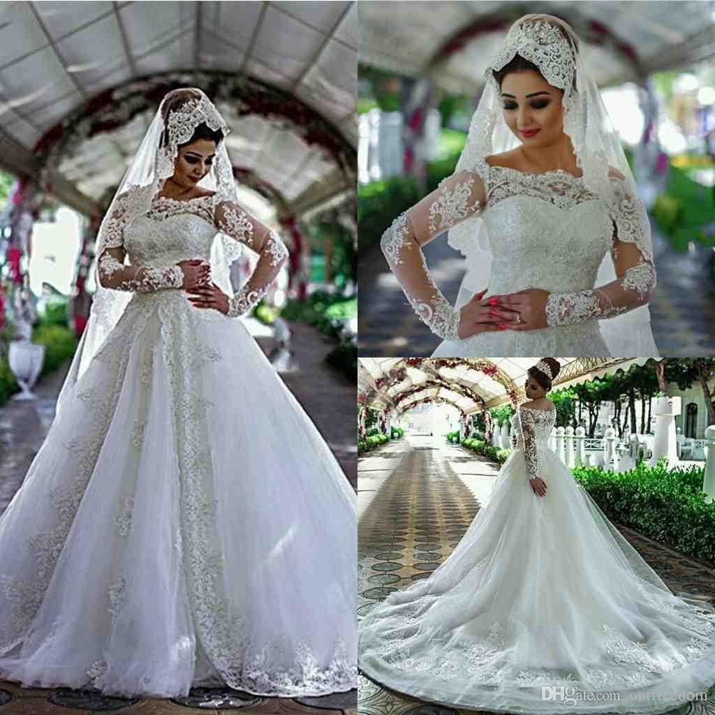 2017 tulle appliques beaded lace arab wedding dresses a for Long sleeve beaded wedding dress