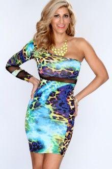 Blue Multi Leopard Print Sexy Party Dress  f256870e6