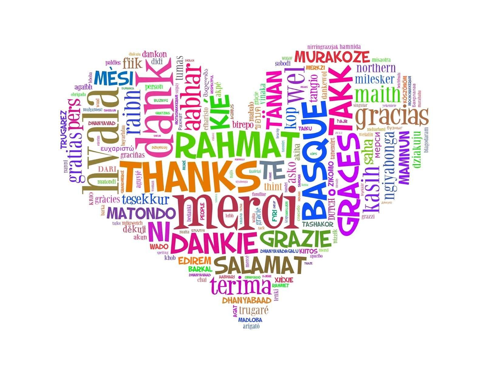 Thank you in several languages in a heart shape | Words, Thankful, Language