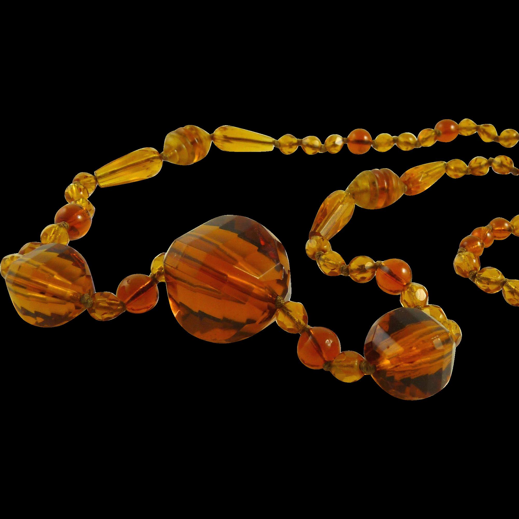 Glass Bead Flapper Necklace Art Deco