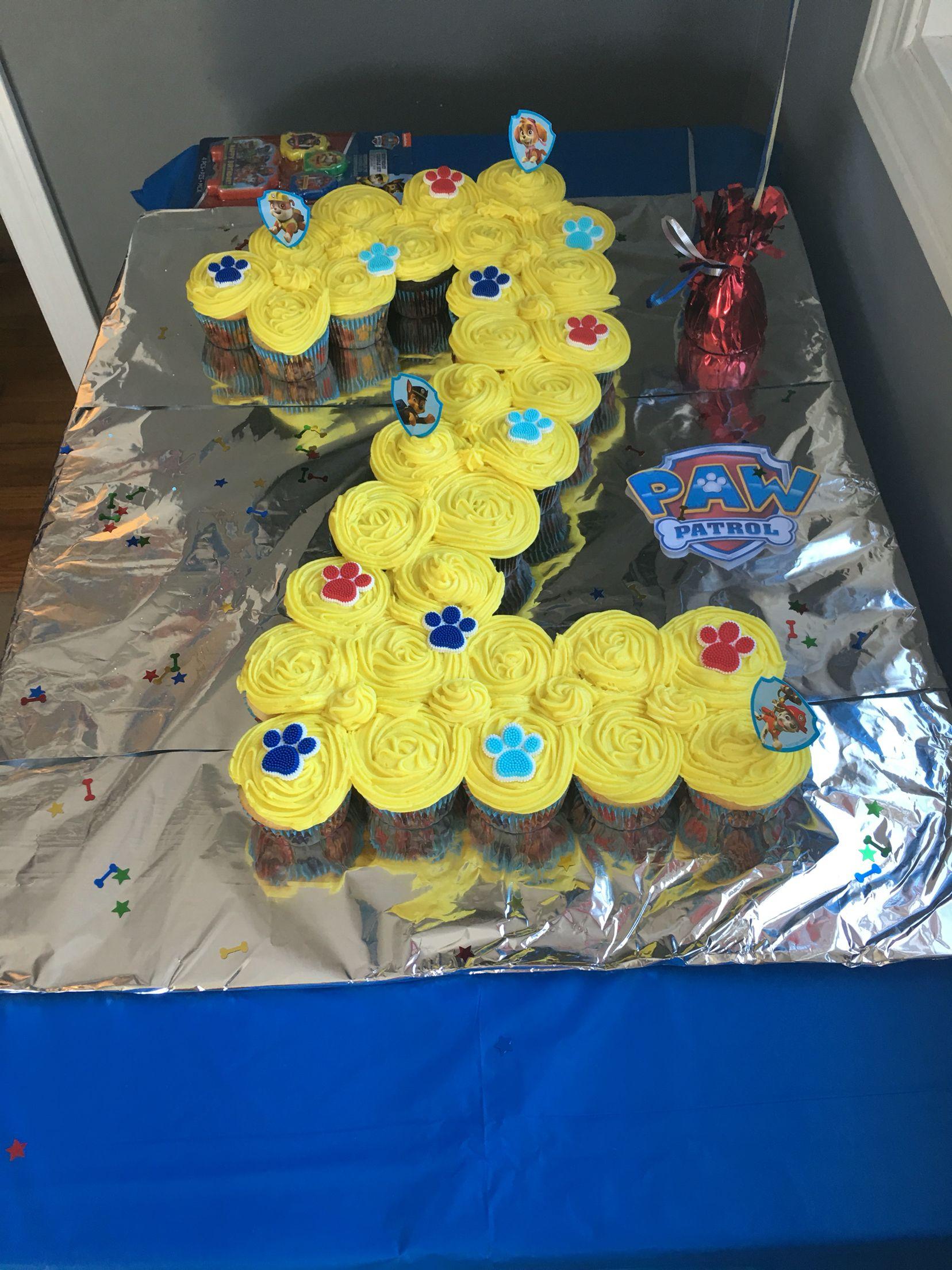 Paw Patrol Cupcake Cake With Images Birthday Party Cake Paw