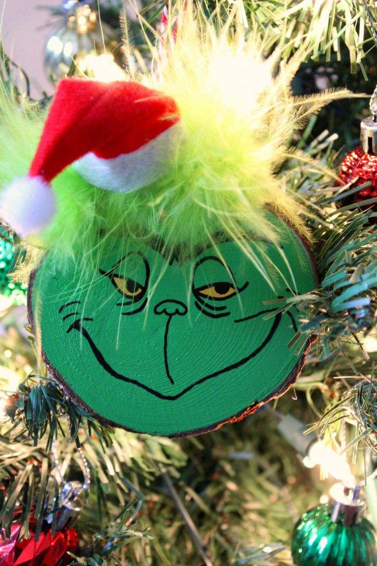 Wood Slice Grinch Ornaments Frugal Mom Eh Grinch Ornaments Christmas Crafts For Kids Christmas Crafts