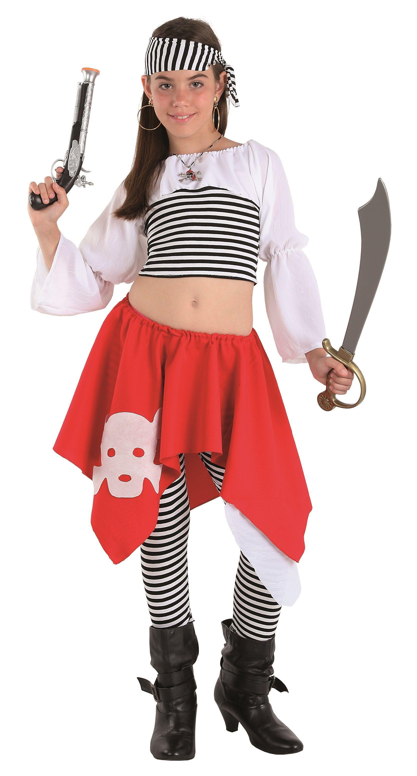 Traje De Bucanera Pirata Con Pantalón Rayas Y Falda Para Niña Fashion Costumes Skater Skirt