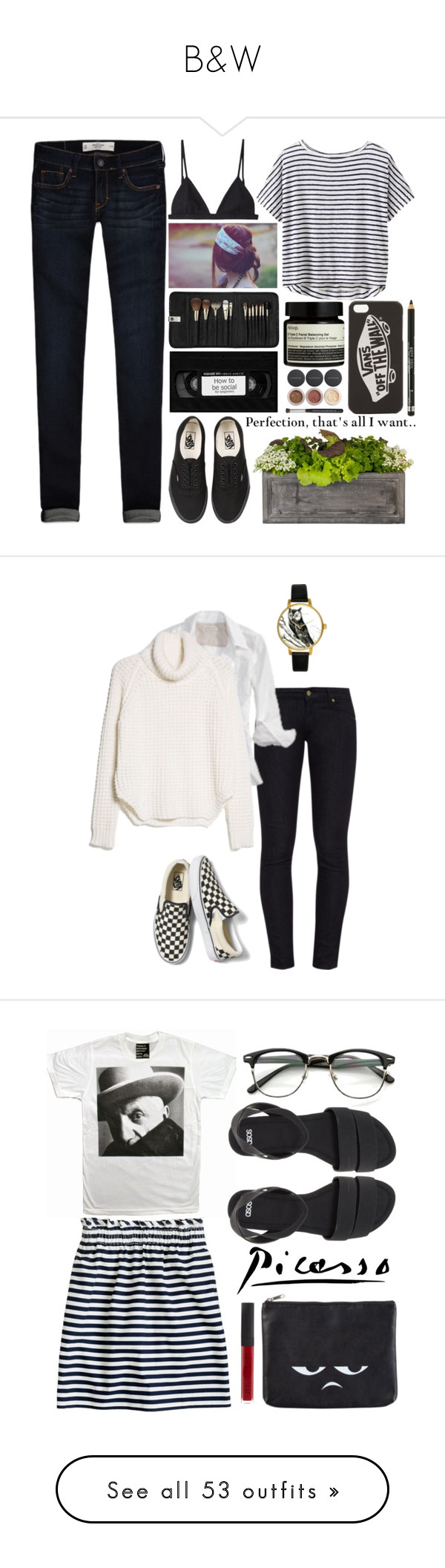 """""""B&W"""" by winkiefingers ❤ liked on Polyvore featuring Abercrombie & Fitch, Athleta, T By Alexander Wang, Vans, Aesop, Bare Escentuals, Sephora Collection, Rimmel, Jayson Home and raeleespenguin"""